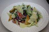 Цезарь с малосольными неркой и палтусом /  Caesar salad with slightly salted halibut & salmon.